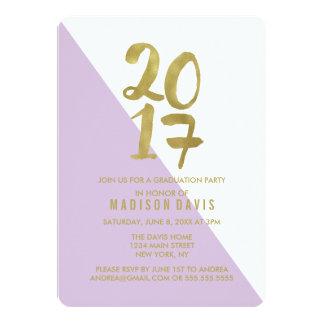 薄紫および金ゴールド色のブロック|の卒業パーティー 12.7 X 17.8 インビテーションカード