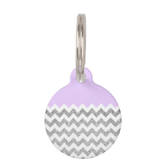 薄紫および銀製の模造のなグリッターシェブロン ペット ネームタグ