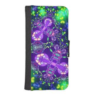 薄紫および青い蝶フラクタル iPhoneSE/5/5sウォレットケース