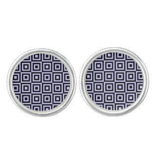 薄紫および黒い正方形パターンデザインのカフスボタン カフスボタン