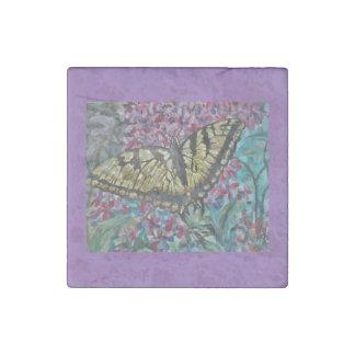 薄紫のアゲハチョウ ストーンマグネット