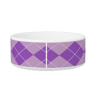 薄紫のアーガイルパターン 猫用ごはん皿
