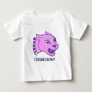 薄紫のクーガーのイヌハッカのプリント ベビーTシャツ