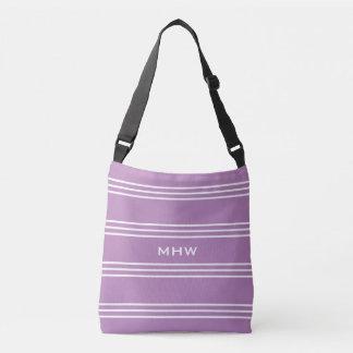 薄紫のストライプでカスタムなモノグラムのバッグ クロスボディバッグ