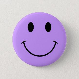 薄紫のスマイリーフェイスボタン 5.7CM 丸型バッジ