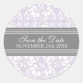薄紫のダマスク織の保存日付の封筒用シール ラウンドシール