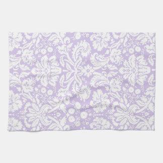 薄紫のダマスク織の花の台所布タオル キッチンタオル