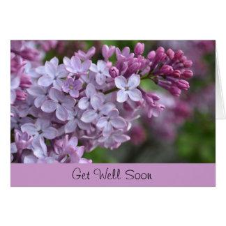 薄紫のデザインの健康な挨拶状をすぐに得て下さい カード