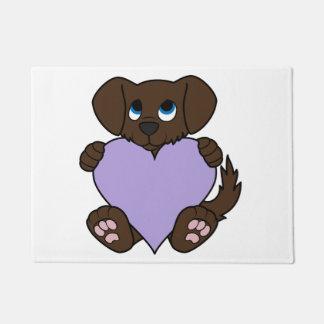 薄紫のハートのバレンタインチョコレート犬 ドアマット