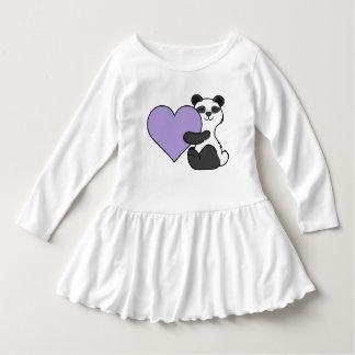 薄紫のハートのバレンタインデーのパンダくま ドレス