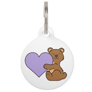 薄紫のハートのバレンタインデーのヒグマ ペット ネームタグ