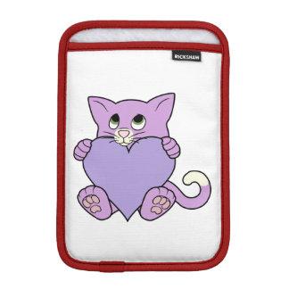 薄紫のハートのバレンタインデーの紫色猫 iPad MINIスリーブ