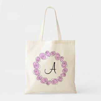 薄紫のバラの円形のモノグラムのトートバック トートバッグ