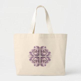 薄紫のバラの抽象芸術 ラージトートバッグ