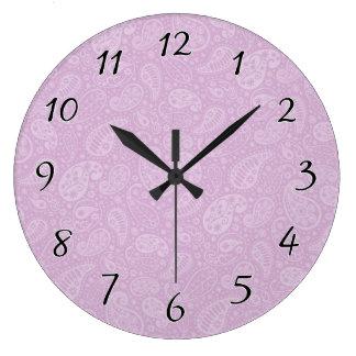 薄紫のペイズリーの花柄 ラージ壁時計