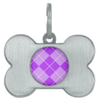 薄紫のラベンダーのアーガイル ペットネームタグ