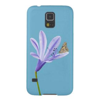 薄紫のワスレグサの花および蝶 GALAXY S5 ケース