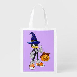 薄紫の再使用可能なハロウィンの御馳走は魔法使いのペンギンを袋に入れます エコバッグ