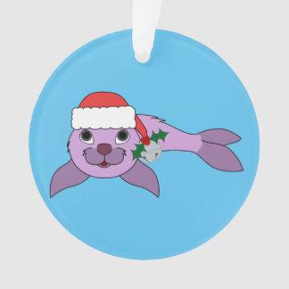 薄紫の子どものアシカ-サンタの帽子及びシルバーベル オーナメント