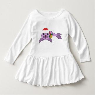 薄紫の子どものアシカ-サンタの帽子及び金ゴールド鐘 ドレス