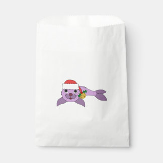 薄紫の子どものアシカ-サンタの帽子及び金ゴールド鐘 フェイバーバッグ