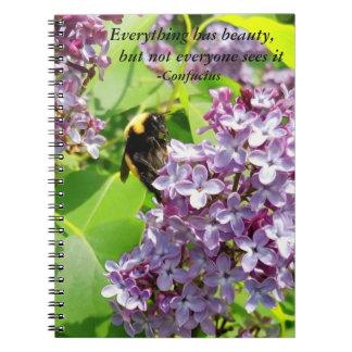 薄紫の孔子の引用文の《昆虫》マルハナバチ ノートブック