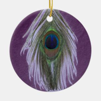 薄紫の孔雀の羽D セラミックオーナメント