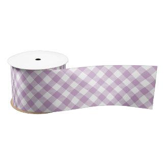 薄紫の対角線のギンガム サテンリボン