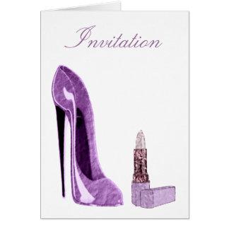 薄紫の小剣の靴および口紅の芸術 カード