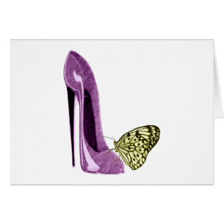 薄紫の小剣の靴および黄色い蝶 カード