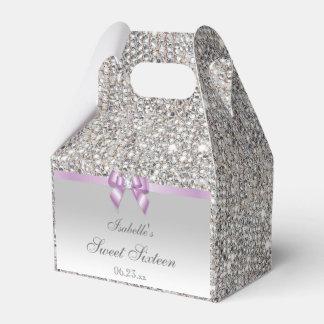 薄紫の模造のな弓銀のスパンコールの菓子16 フェイバーボックス