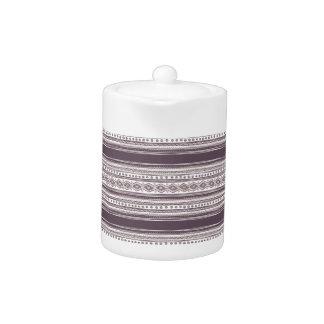 薄紫の民族パターン小さいティーポット