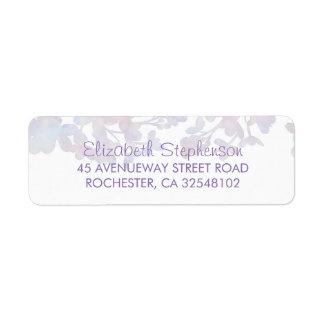 薄紫の水彩画の花の結婚式 ラベル