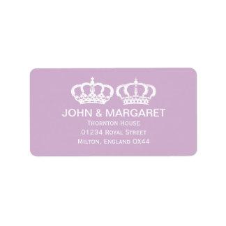 薄紫の王室のなカップルの結婚式 ラベル
