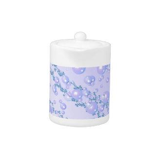薄紫の真珠のティーポット