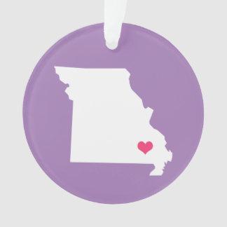 薄紫の紫色およびピンクのハートのミズーリの故郷の州 オーナメント