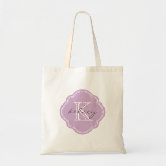 薄紫の紫色のカスタムで名前入りなモノグラム トートバッグ