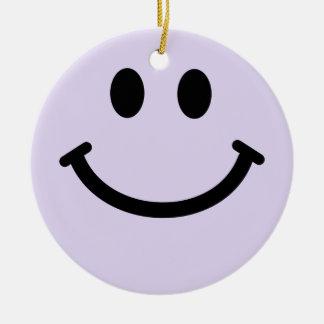 薄紫の紫色のスマイリーフェイスのオーナメントの装飾 セラミックオーナメント