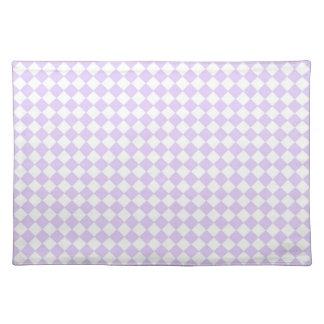 薄紫の紫色のダイヤモンドのチェック模様のパターン ランチョンマット