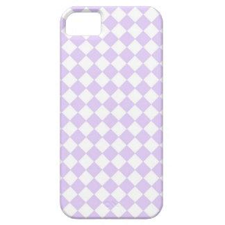 薄紫の紫色のダイヤモンドのチェック模様のパターン iPhone SE/5/5s ケース