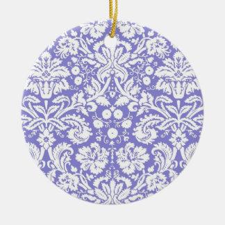 薄紫の紫色のダマスク織パターン セラミックオーナメント