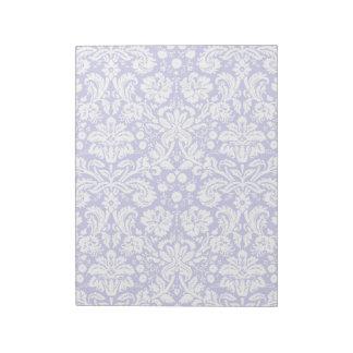 薄紫の紫色のダマスク織パターン ノートパッド