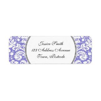 薄紫の紫色のダマスク織パターン ラベル