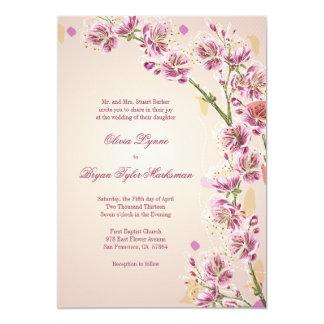 薄紫の紫色の水彩画によっては結婚式招待状が開花します カード