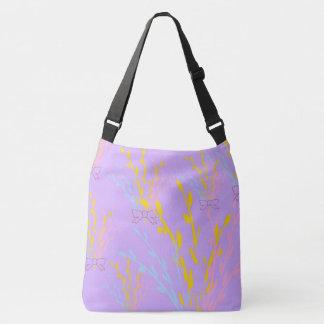 薄紫の紫色の花の認識度のリボン クロスボディバッグ