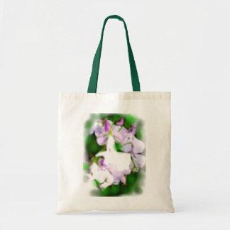 薄紫の花の豪華でロマンチックな植物相のバッグ トートバッグ