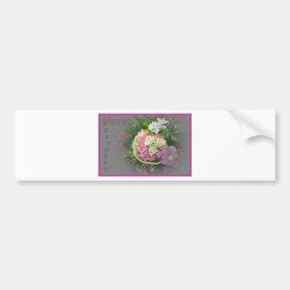 薄紫の花束のバースデー・カード バンパーステッカー
