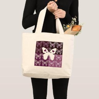 薄紫の蝶ジャンボトート ラージトートバッグ
