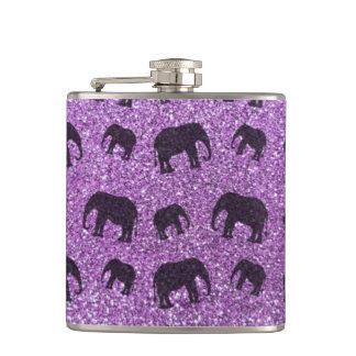 薄紫の象のグリッターパターン フラスク