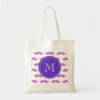 薄紫の髭パターン、紫色の白いモノグラム トートバッグ